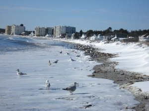 Where sand, snow and surf meet, post-Nemo:  Old Orchard Beach, Maine.