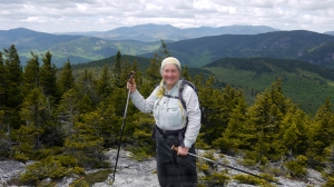 At the summit!!!  Looking out on the New Hampshire side from Speckled Mountain.  Mt. Washington is covered in snow in the background.