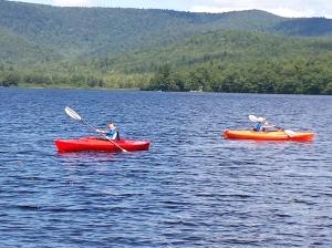 Two of the grandkids kayaking on Virginia Lake