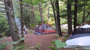 4 grandsons were in the orange tent; my husband and I slept in the green tent