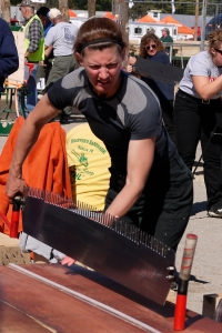 The lumberjacks and jills who entered the paired crosscut competition were all tough and strong, but they babied their saw blades with a gentle touch.