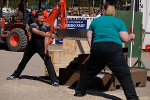 Here are the winners of the crosscut competition.  These women sawed off two pieces from this solid block of wood in about 6 seconds.