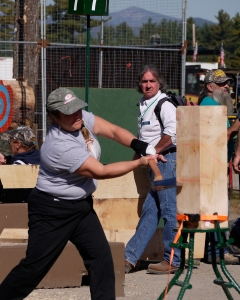 Women also compete!  The winning time for chopping through this solid block of wood was just over 6 seconds!