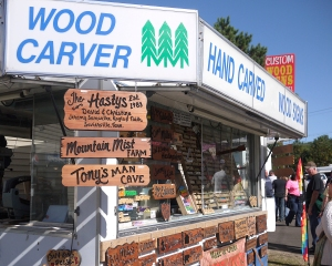 This vendor was selling custom-made wood signs.