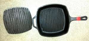 This is a must-have for your kitchen!  It's a cast iron grill pan and cover (sold separately) made by Lodge Logic (they've been around for decades, and their products will last 100 years if well cared for).  If you very lightly spray the pan with oil, you can add skinless boneless chicken to a hot pan; cover with the gril cover and within moments the bottom will be ready for turning.  After turning, replace grill cover for a few more minutes of grilling.  Voila!  You have amazing grilled chicken that even has a real-grill flavor, minus the mess and fuss, and the fat goes into the indentations away from the meat.  It's super juicy, too.  And it works for any kind of meat, from hamburgers, steaks, chicken, turkey chops, etc.