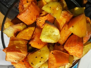 3-potato roasted combo:  sweet potatoes, yams, and white sweet potato