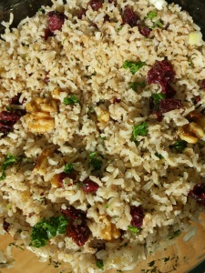 brown basmati rice with hand-picked organic Maine cranberries, toasted walnuts, and kale, seasoned with thyme, parsley, sage, and rosemary, salt and pepper