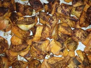 Roasted sweet potatoes, version 2:  cut peeled sweet potatoes into small pieces, sprinkle with olive oil, salt, pepper, cinnamon and rosemary, roast uncovered at  375 F til edges are brown.