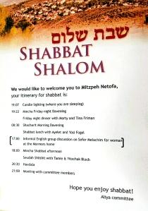 Shabbat Itinerary (click to enlarge)