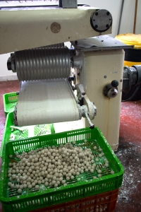 This machine forms the chocolate into balls.