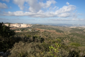 Beautiful vistas from Moreshet.  On the mountain furthest in distance are the towers of University of Haifa.
