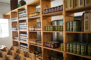 The retail store at the olive oil factory sells many products made from olive oil.