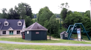 Here is the base of the ski lifts across from the shul