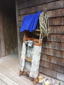 "This is the specially-designed back-rack for carrying heavy crates of supplies by ""croo"" members  to the hut."
