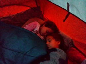 After I moved to the other side of the tent, the two sisters gravitated towards one another - in their sleep!