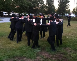 A spontaneous circle dance broke out on the men's side following the wedding ceremony.