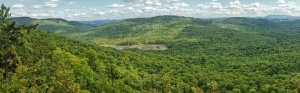 Panorama view from the top of Big Deer HIll, looking into western Maine.