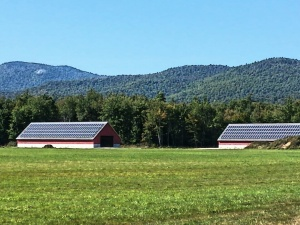 I passed these two huge barns on a country road in Chatham NH, being powered by an immense solar electric system that stretches across both roofs.  The barns were empty.  I am so curious to know what they are powering!