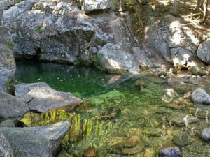 Emerald Pool lives up to its name.  It is a popular swimming hole for locals in summer, and the upper rock is used as a diving board.