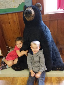 "At the gift store tourist concession (where the bathrooms are located) at Lost River Gorge, two of my grandkids cuddle up to a ""bear.""   It didn't help when a few of my grandkids glanced at the merchandise and declared in loud voices, ""These prices are a RIPOFF!""  (they were right!)"