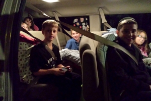 9:30 pm and the 12-passenger van is packed to the hilt as we say our goodbyes.