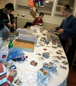 Some of the grandsons sorting 3,000 baseball and football cards.  Their mother was convinced she'd never get her table back.