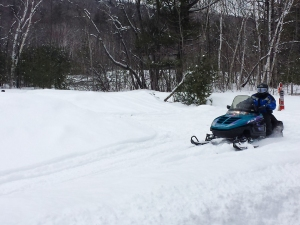 A snowmobiler crosses our path