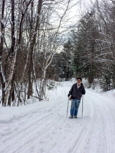 Walking along the groomed trail